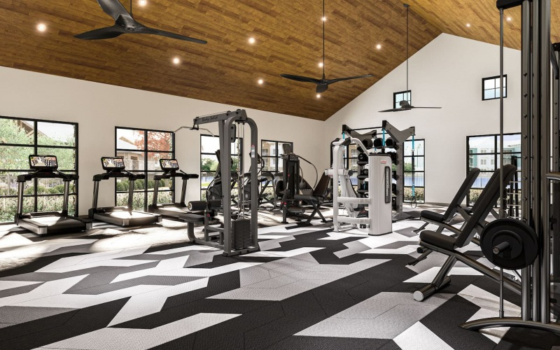 rendering of fitness center showing high ceilings, modern decor and equipment